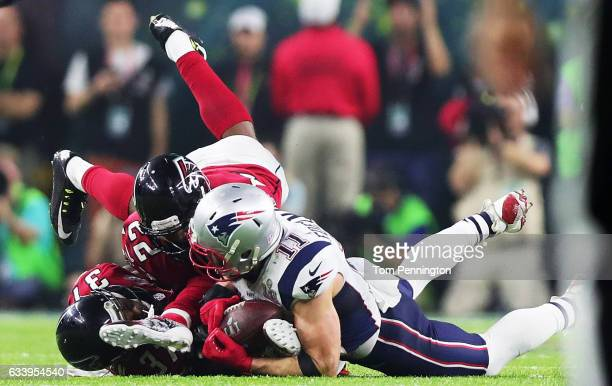 Julian Edelman of the New England Patriots makes a catch late in the fourth quarter during Super Bowl 51 at NRG Stadium on February 5 2017 in Houston...