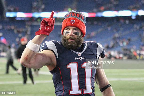 Julian Edelman of the New England Patriots reacts after the Patriots 3416 victory over the Houston Texans in the AFC Divisional Playoff Game at...
