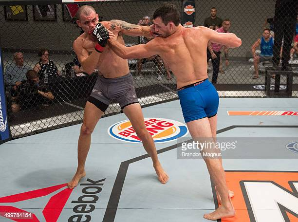 Julian Erosa exchanges punches with Abner Lloveras during the filming of The Ultimate Fighter Team McGregor vs Team Faber at the UFC TUF Gym on...
