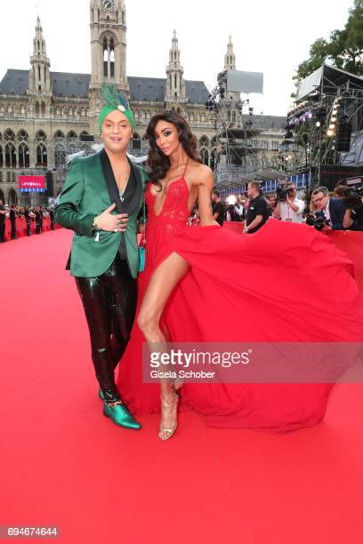 Julian F M Stoeckel and Yasmine Petty during the Life Ball 2017 at City Hall on June 10 2017 in Vienna Austria