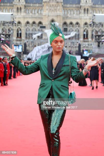 Julian F M Stoeckel arrives for the Life Ball 2017 at City Hall on June 10 2017 in Vienna Austria