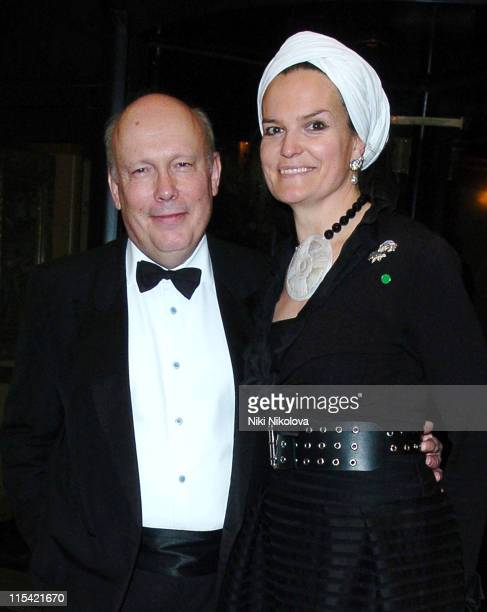 Julian Fellowes and Guest during Awards of The London Film Critics Circle Departures at Dorchester Hotel in London Great Britain