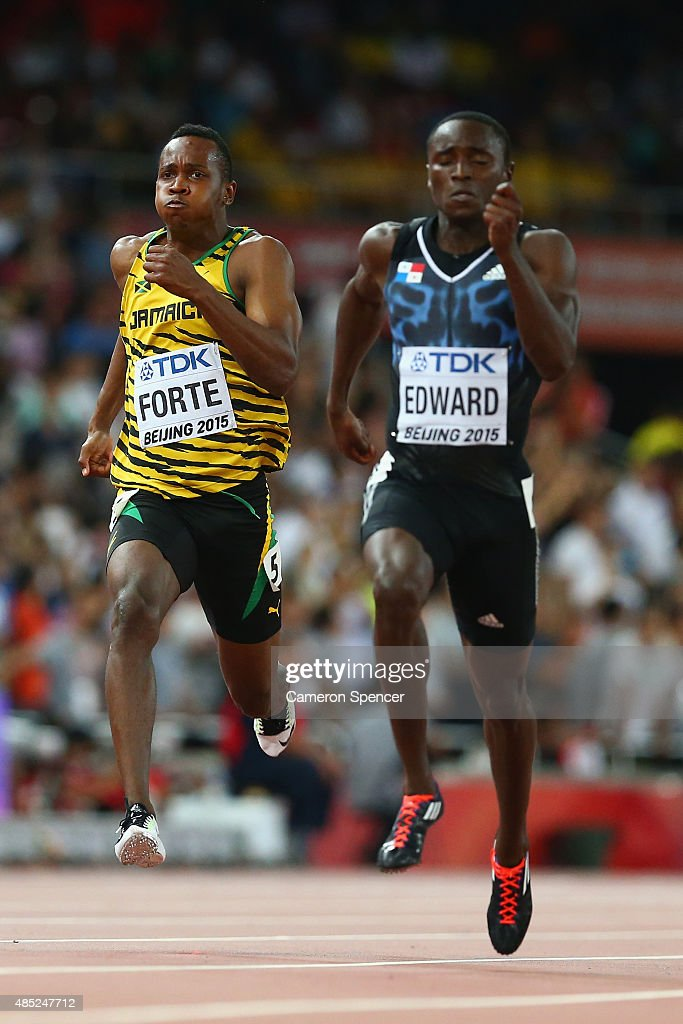 Julian Forte of Jamaica (L) and <a gi-track='captionPersonalityLinkClicked' href=/galleries/search?phrase=Alonso+Edward+-+Sprinter&family=editorial&specificpeople=6147378 ng-click='$event.stopPropagation()'>Alonso Edward</a> of Panama compete in the Men's 200 metres semi-final during day five of the 15th IAAF World Athletics Championships Beijing 2015 at Beijing National Stadium on August 26, 2015 in Beijing, China.