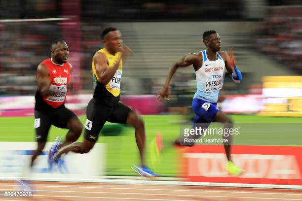 Julian Forte of Jamaica and Reece Prescod of Great Britain competes in the Men's 100 metres heats during day one of the 16th IAAF World Athletics...