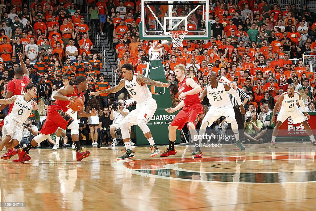 Julian Gamble #45 and the Miami Hurricanes defend against the Maryland Terrapins during first half action on January 13, 2013 at the BankUnited Center in Coral Gables, Florida. Miami defeated Maryland 54-47.