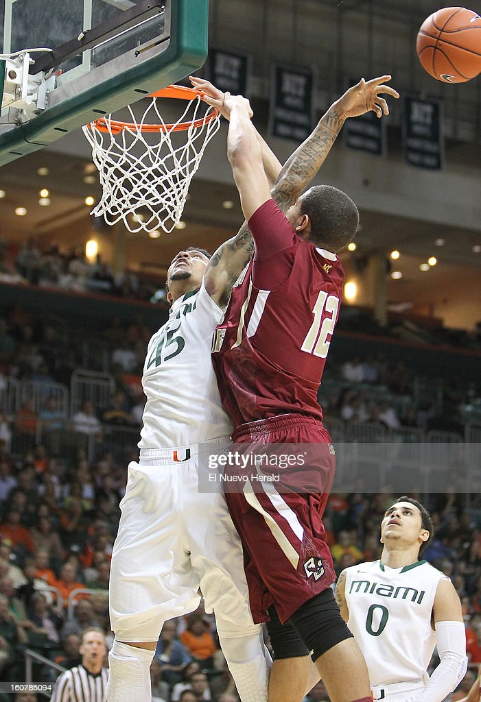 Julian Gamble of the Miami Hurricanes blocks a shot against Ryan Anderson of the Boston College Eagles during the first half at the BankUnited Center in Miami, Florida, Tuesday, February 5, 2013. The Miami Hurricanes defeated the Boston College Eagles 72-50.