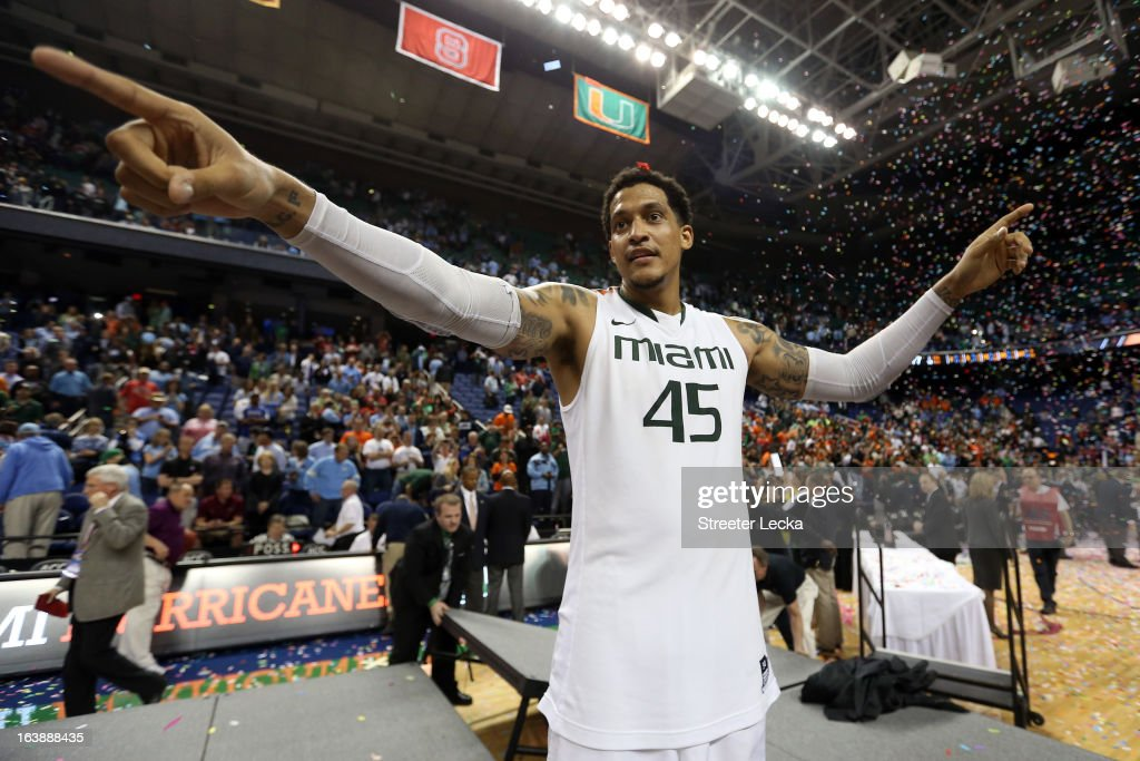 Julian Gamble #45 of the Miami (Fl) Hurricanes celebrates after they won 87-77 against the North Carolina Tar Heels during the final of the Men's ACC Basketball Tournament at Greensboro Coliseum on March 17, 2013 in Greensboro, North Carolina.