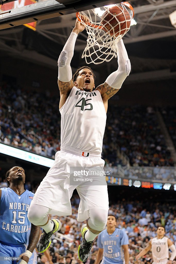 Julian Gamble #45 of the Miami Hurricanes dunks against the North Carolina Tar Heels during the finals of the 2013 Men's ACC Tournament at the Greensboro Coliseum on March 17, 2013 in Greensboro, North Carolina. Miami defeated North Carolina 87-77.