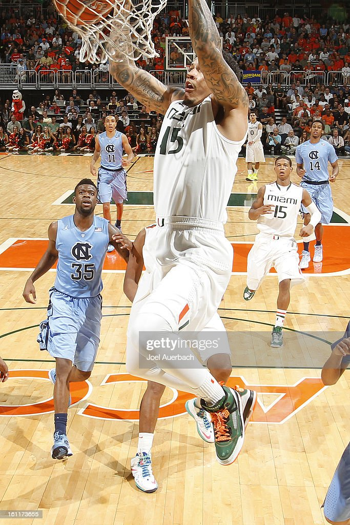 Julian Gamble #45 of the Miami Hurricanes dunks the ball against the North Carolina Tar Heels during second half action on February 9, 2013 at the BankUnited Center in Coral Gables, Florida. Miami defeated North Carolina 87-61.