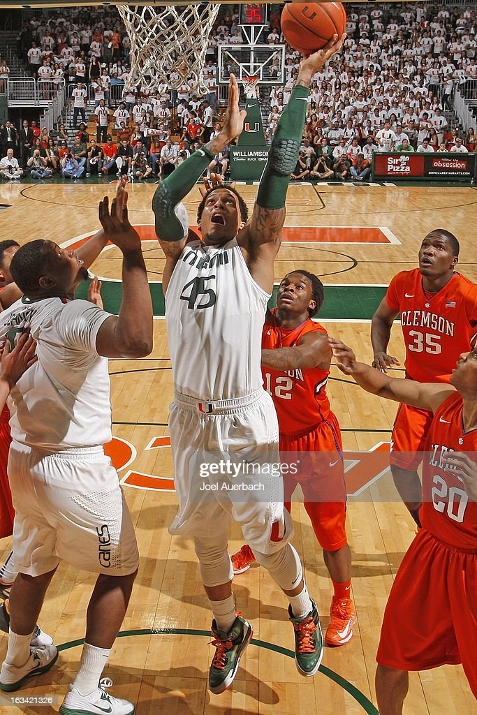 Julian Gamble #45 of the Miami Hurricanes goes to the basket against the Clemson Tigers on March 9, 2013 at the BankUnited Center in Coral Gables, Florida. The Hurricanes defeated the Tigers 62-49 and won the Atlantic Coast Conference Championship.