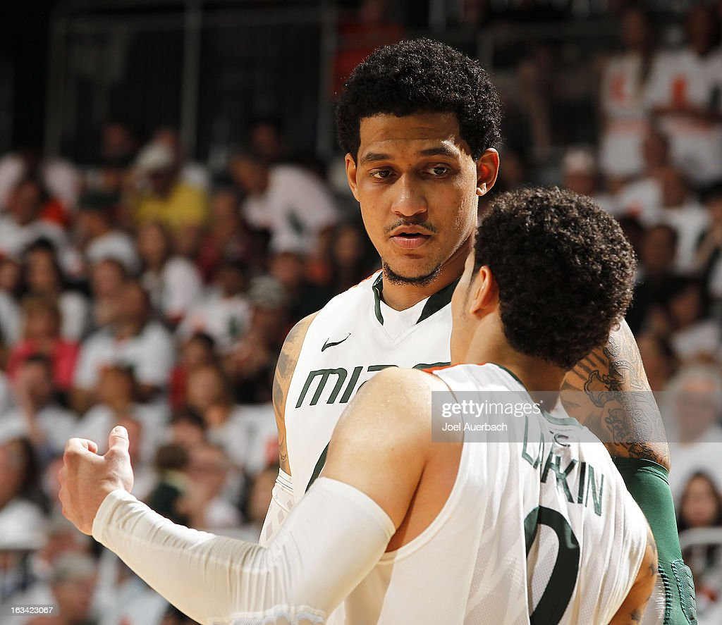 Julian Gamble #45 talks to Shane Larkin #0 of the Miami Hurricanes in the final minutes of the game against the Clemson Tigers on March 9, 2013 at the BankUnited Center in Coral Gables, Florida. The Hurricanes defeated the Tigers 62-49 and won the Atlantic Coast Conference Championship.