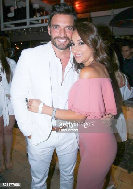Julian Gil and Cynthia Bague from Suelta la Sopa pose at River Yatch Club during the US launch of Carson Life on April 20 2017 in Miami Us