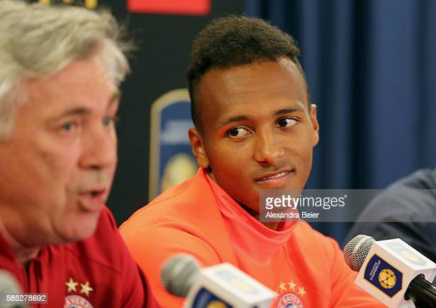Julian Green and team coach Carlo Ancelotti of FC Bayern Muenchen attend a news conference ahead of the International Champions Cup match between FC...