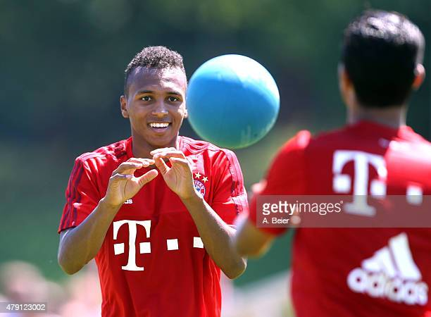 Julian Green of Bayern Muenchen practices during the team's first training session at the FC Bayern Muenchen training ground at Saebener Strasse on...