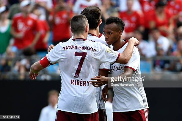 Julian Green of FC Bayern Munich celebrates with teammates after scoring a goal against FC Internazionale during an International Champions Cup match...