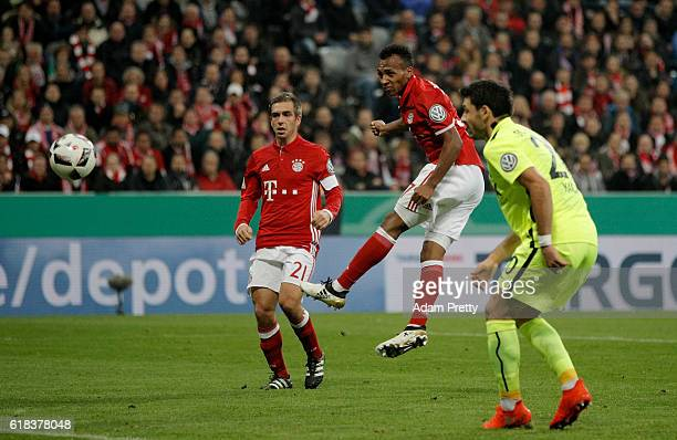Julian Green of Muenchen heads his team's 2nd goal during the DFB Cup second round match between Bayern Muenchen and FC Augsburg at Allianz Arena on...