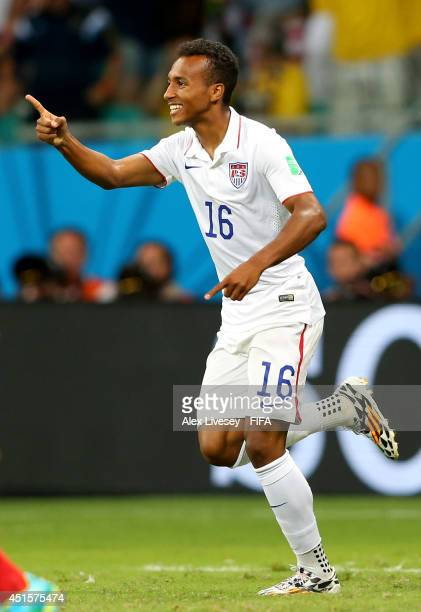 Julian Green of the United States celebrates scoring his team's first goal during the 2014 FIFA World Cup Brazil Round of 16 match between Belgium...
