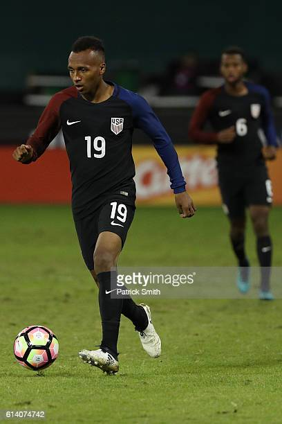 Julian Green of United States dribbles against the New Zealand in the second half during an International Friendly at RFK Stadium on October 11 2016...