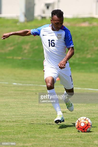 Julian Green of USA drives the ball during an international friendly match between Puerto Rico and USA at Juan Ramon Loubriel Stadium on May 22 2016...