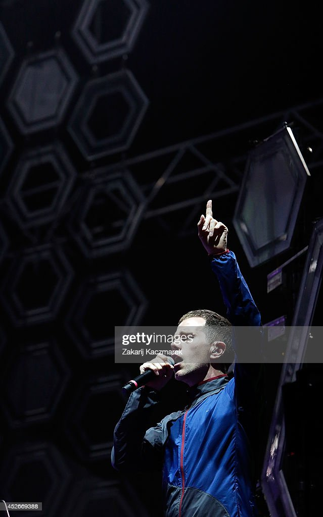 Julian Hamilton of Presets performs on stage at Splendour In the Grass 2014 on July 25, 2014 in Byron Bay, Australia.