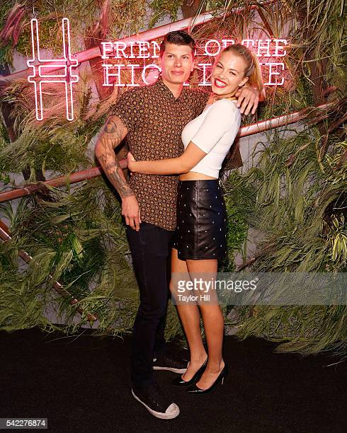 Julian Herrera and Hailey Clauson attend the 2016 Coach And Friends Of The High Line Summer Party at the High Line on June 22 2016 in New York City