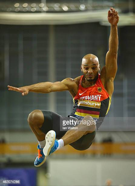 Julian Howard of Germany in action in the Men's Long Jump final during the Sainsbury's Glasgow International Match at Emirates Arena on January 24...