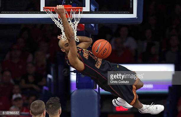 Julian Jacobs of the USC Trojans dunks during the first half of the college basketball game against the Arizona Wildcats at McKale Center on February...