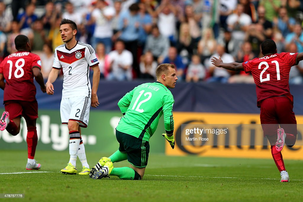 Julian Kob (L) and goalkeeper Marc Andre ter Stegen of Germany look dejected during the UEFA European Under-21 semi final match Between Portugal and Germany at Ander Stadium on June 27, 2015 in Olomouc, Czech Republic.