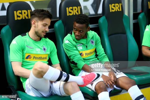 Julian Korb and Ibrahima Traore of Moenchengladbach are seen prior to the Bundesliga match between Borussia Moenchengladbach and FC Augsburg at...