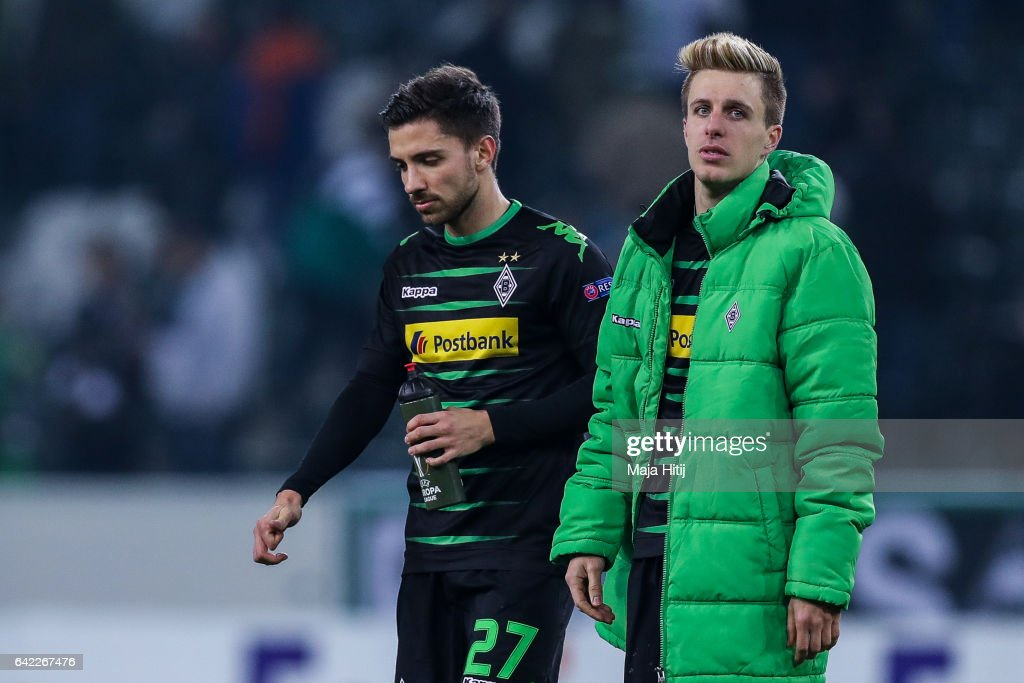Julian Korb and Patrick Herrmann of Moenchengladbach react after the UEFA Europa League Round of 32 first leg match between Borussia Moenchengladbach and ACF Fiorentina at Borussia Park Stadium on February 16, 2017 in Moenchengladbach, Germany.