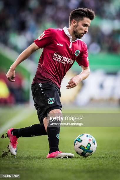 Julian Korb in action of Hannover during the Bundesliga match between VfL Wolfsburg and Hannover 96 at Volkswagen Arena on September 9 2017 in...