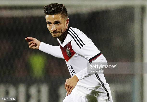 Julian Korb in Germany in action during the UEFA U21 Championship First Leg Playoff between Ukraine and Germany at the KP Tcentralnyi Stadium on...