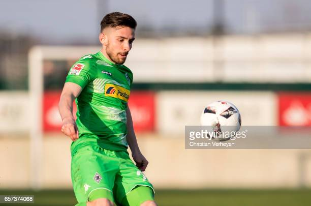 Julian Korb of Borussia Moenchengladbach controls the ball during the Friendly Match between Borussia Moenchengladbach and FC Sankt Pauli at...