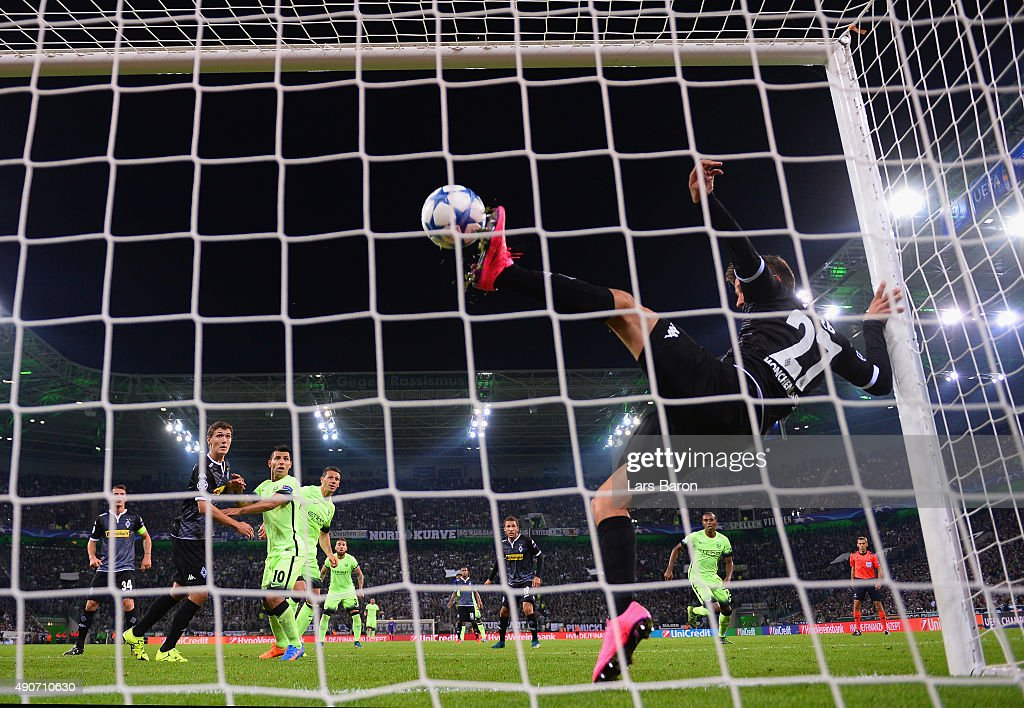 Julian Korb of Borussia Monchengladbach clears a shot from the line during the UEFA Champions League Group D match between VfL Borussia Monchengladbach and Manchester City at the Borussia Park Stadium on September 30, 2015 in Moenchengladbach, Germany.
