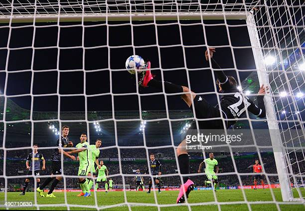 Julian Korb of Borussia Monchengladbach clears a shot from the line during the UEFA Champions League Group D match between VfL Borussia...