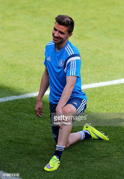 Julian Korb of Germany looks on during a training session ahead of the UEFA European Under21 semi final match against Portugal at Ander Stadium on...