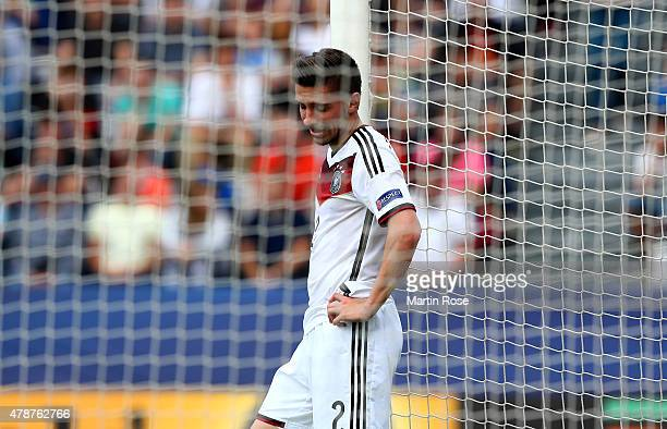 Julian Korb of Germany reacts during the UEFA European Under21 semi final match Between Portugal and Germany at Ander Stadium on June 27 2015 in...