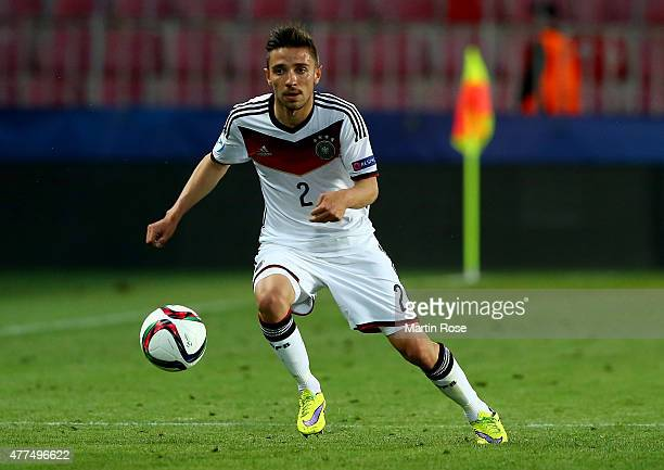Julian Korb of Germany runs with the ball during the UEFA European Under21 Group A match between Germany and Serbia at Letna Stadium on June 17 2015...