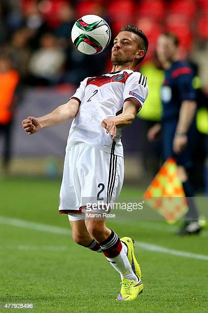 Julian Korb of Germany runs with the ball during the UEFA European Under21 Group A match between Germany and Denmark at Eden Stadium on June 20 2015...