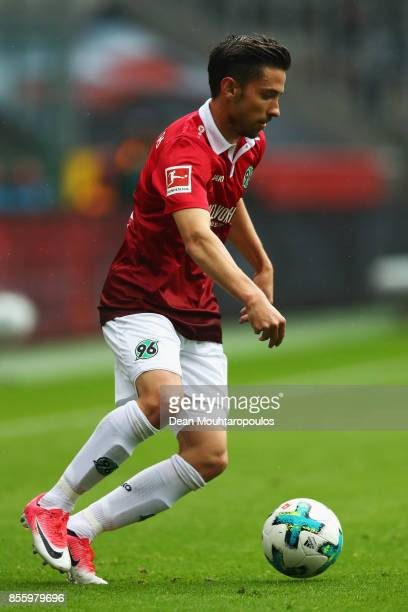 Julian Korb of Hannover 96 in action during the Bundesliga match between Borussia Moenchengladbach and Hannover 96 at BorussiaPark on September 30...