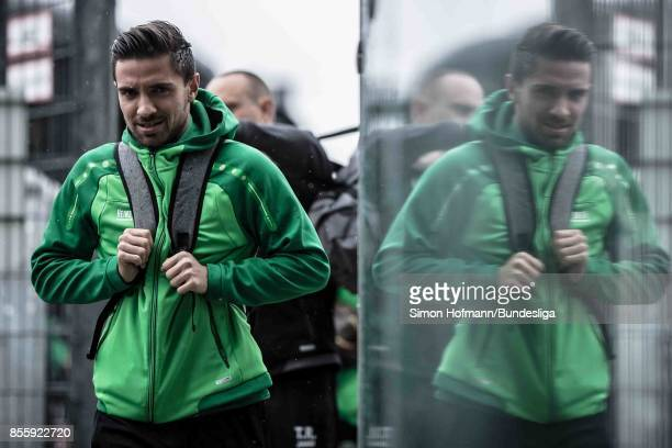 Julian Korb of Hannover arrives prior to the Bundesliga match between Borussia Moenchengladbach and Hannover 96 at BorussiaPark on September 30 2017...