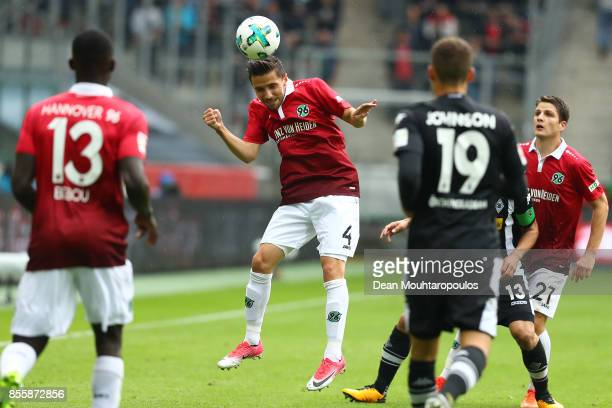 Julian Korb of Hannover during the Bundesliga match between Borussia Moenchengladbach and Hannover 96 at BorussiaPark on September 30 2017 in...