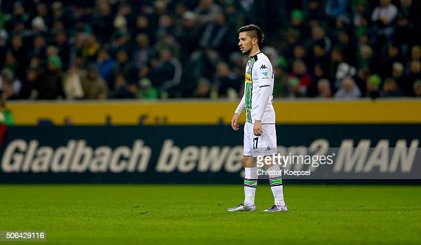 Julian Korb of Moenchengladbach looks dejected after the second goal of Dortmund during the Bundesliga match between Borussia Moenchengladbach and...