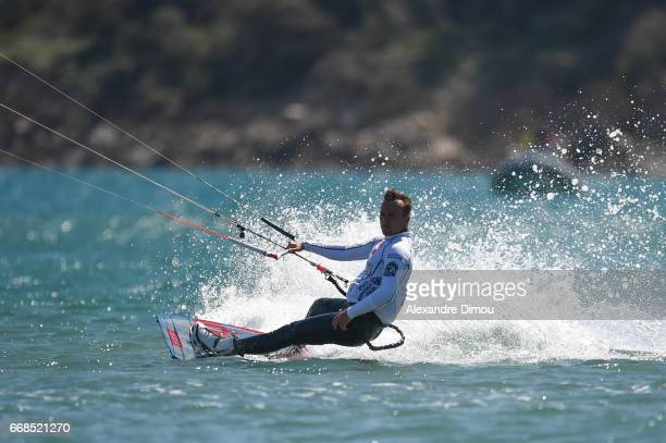 Julian Krikken of France competes in the WKL Kiteboarding World Cup 2017 freestyle qualifiers on April 14 2017 in Leucate France