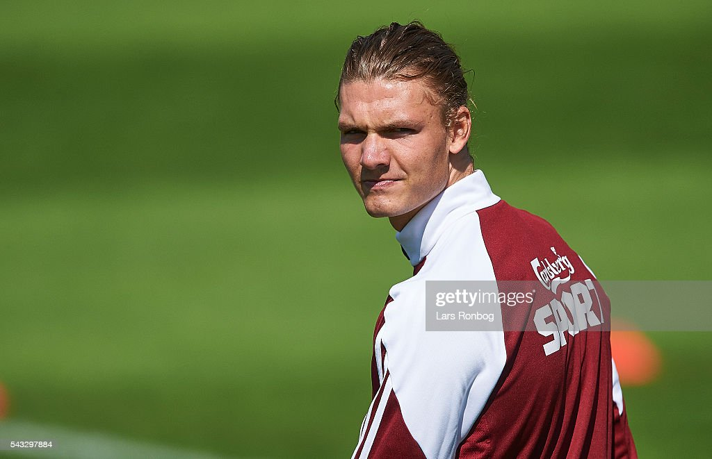 Julian Kristoffersen looks on during of FC Copenhagen the FC Copenhagen training session at KB's baner on June 27, 2016 in Frederiksberg, Denmark.