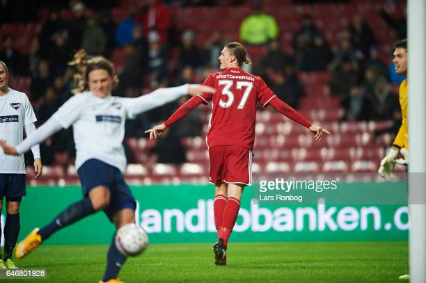 Julian Kristoffersen of FC Copenhagen celebrates after scoring their first goal during the Danish Cup DBU Pokalen match match between B93 and FC...