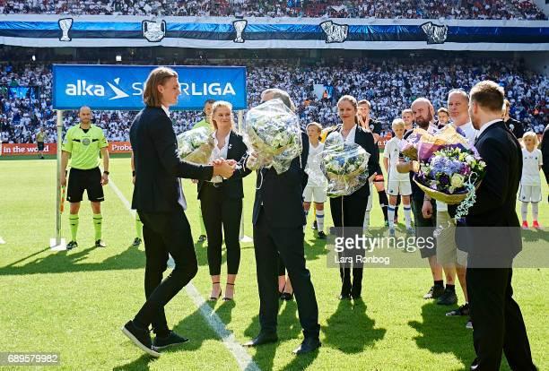 Julian Kristoffersen of FC Copenhagen receiving flowers prior to the Danish Alka Superliga match between FC Copenhagen and Sonderjyske at Telia...