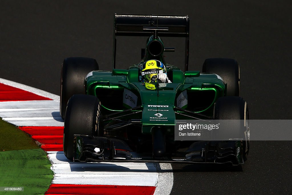 Julian Leal of Colombia and Caterham drives during day two of testing at Silverstone Circuit on July 9, 2014 in Northampton, England.