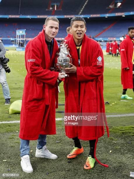 Julian Lelieveld of Vitesse Yuning Zhang of Vitesse with KNVB Beker Dutch Cupduring the Dutch Cup Final match between AZ Alkmaar and Vitesse Arnhem...