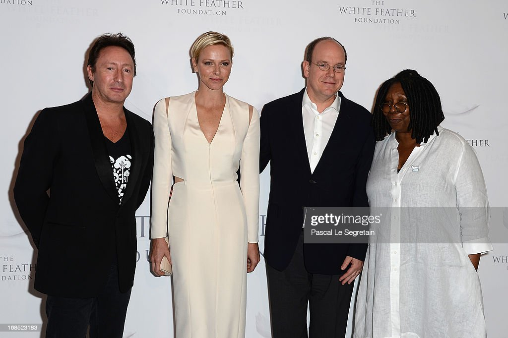 <a gi-track='captionPersonalityLinkClicked' href=/galleries/search?phrase=Julian+Lennon&family=editorial&specificpeople=211480 ng-click='$event.stopPropagation()'>Julian Lennon</a>, Princess Charlene of Monaco, Prince Albert II of Monaco and <a gi-track='captionPersonalityLinkClicked' href=/galleries/search?phrase=Whoopi+Goldberg&family=editorial&specificpeople=202463 ng-click='$event.stopPropagation()'>Whoopi Goldberg</a> arrive at The White Feather Foundation Charity Ball 2013 at Ballet De Monte Carlo on May 10, 2013 in Monaco, Monaco. The event raises funds for <a gi-track='captionPersonalityLinkClicked' href=/galleries/search?phrase=Julian+Lennon&family=editorial&specificpeople=211480 ng-click='$event.stopPropagation()'>Julian Lennon</a>'s charity 'The White Feather Foundation' which aims to give a voice and support to those who cannot be heard, aids, ongoing humanitarian and environmental projects, with an emphasis on water projects in 2013.